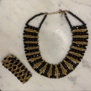 Black & Gold Heavy Collar Necklace with Bracelet